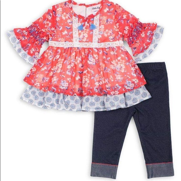 Little Lass Chiffon Top & Denim Capri Leggings Set